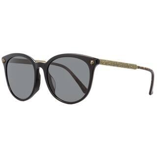 Gucci GG0224SK 001 Womens Black/Antique Gold 56 mm Sunglasses - Black/Antique Gold