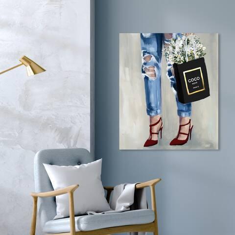 Oliver Gal 'Denim Dream Fall' Fashion and Glam Wall Art Canvas Print - Blue, Black