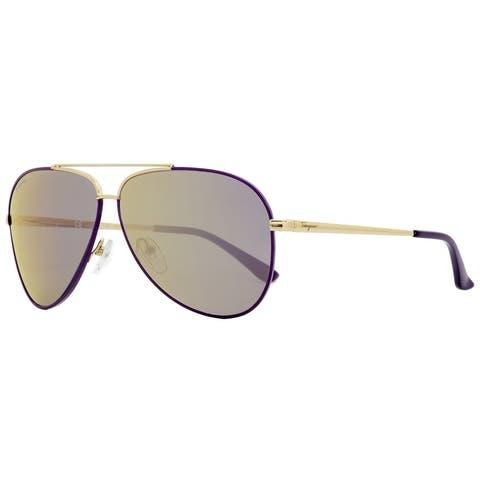 Salvatore Ferragamo SF131S 736 Womens Light Gold/Purple 60 mm Sunglasses - Light Gold/Purple