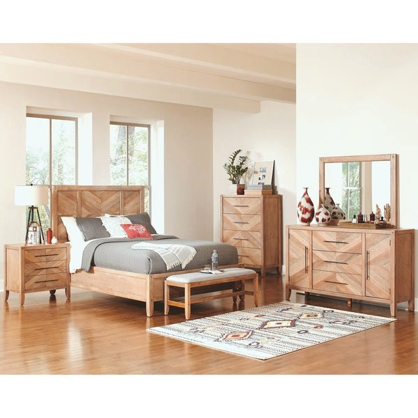 Loft Design Natural Withwashed Wood 5-piece Bedroom Set