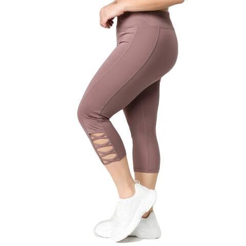 Women's Stretchy Active Lattice Capri Cutout Workout Leggings (Plus Size)