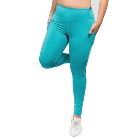 Women's Stretchy High Waist Tech Pocket Workout Leggings (Plus Size)
