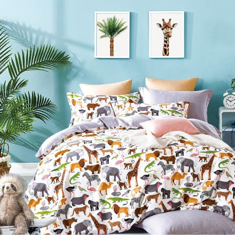 Porch & Den Brauner Animal Print Cotton Queen/Full Duvet Cover Set
