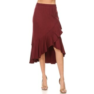 Link to Women's Solid Ruffled Faux Wrap Midi Skirt Similar Items in Skirts