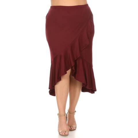 Women's Solid Plus Size Ruffled Faux Wrap Midi Skirt