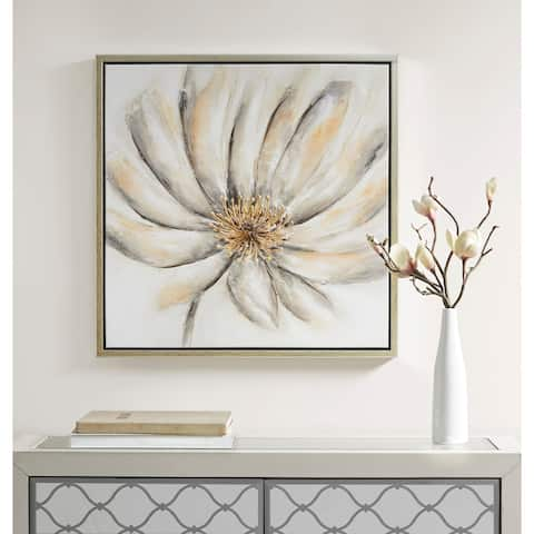 Madison Park Signature Enchanted Floral Grey Framed Canvas with Embellishment