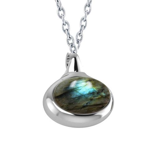 """Sterling Silver with Natural Labradorite Solitaire Pendant 18"""" Cable Chain"""