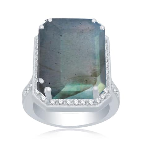 Sterling Silver with Natural Labradorite and White Topaz Octagon Halo Ring