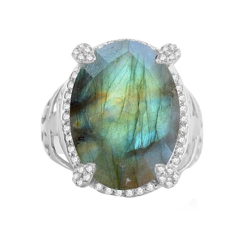 Sterling Silver with Natural Labradorite and White Topaz Halo Ring