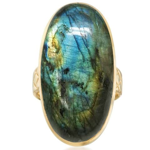 Gold Over Sterling Silver with Natural Labradorite Vintage Ring