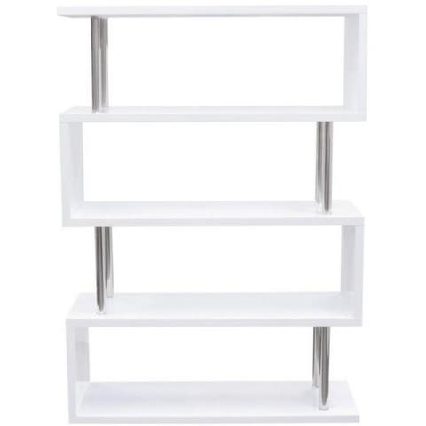 Wooden Four Tier Shelving Unit with Stainless Steel Metal Supports, White and Silver