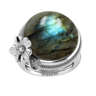 Sterling Silver With Natural Labradorite Dome Ring