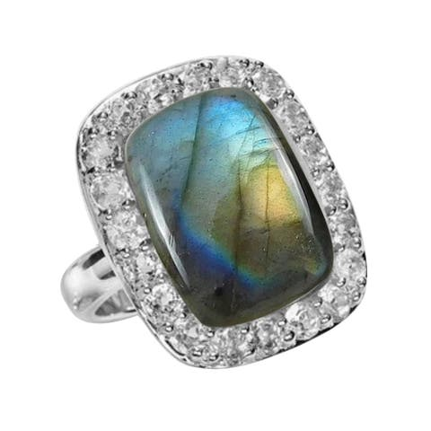 Sterling Silver with Labradorite and White Topaz Halo Ring