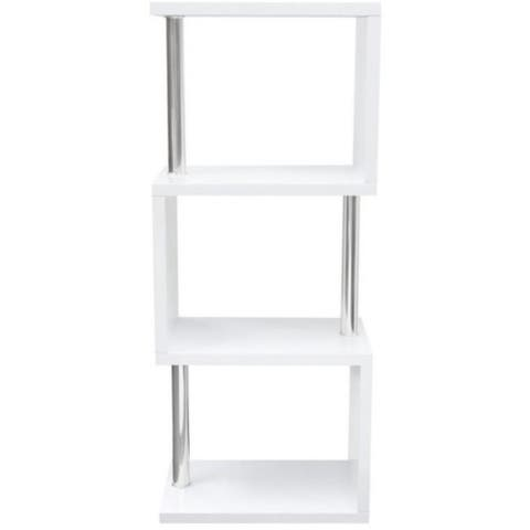 Wooden Three Tier Shelving Unit with Stainless Steel Supports, White and Silver