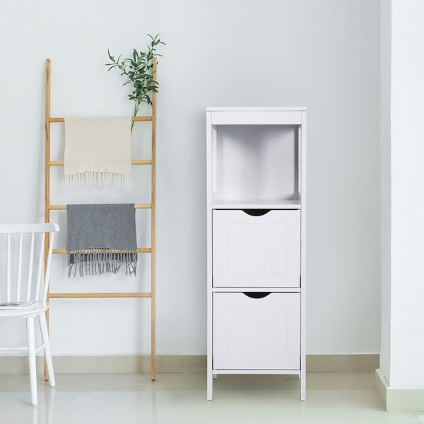 Kinbor 3-Tier Bathroom Floor Cabinet Free Standing Storage Cabinet Side Organizer Unit with 2 Drawers