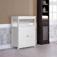 Kinbor Bathroom Floor Cabinet Free Standing Storage Organizer with Double Door and Adjustable Shelf