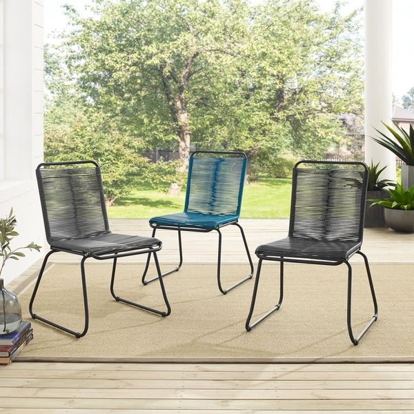 Sarcelles Woven Wicker Patio Dining Chairs by Corvus (Set of 4). Opens flyout.