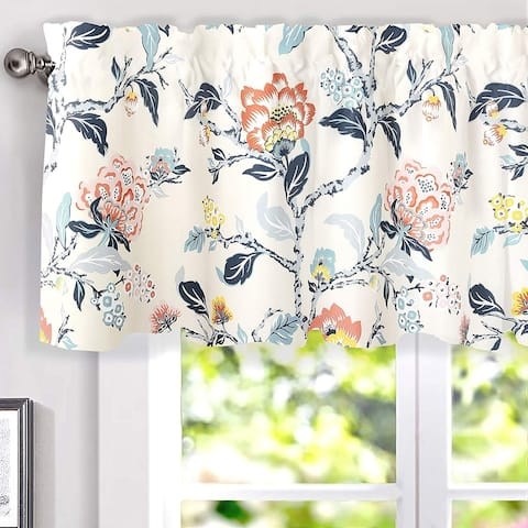 Porch & Den Navarre Botanical Print Lined Window Curtain Valance