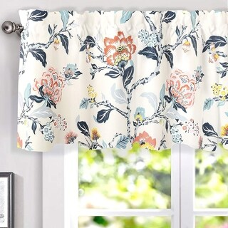 Porch & Den Navarre Botanical Print Lined Window Curtain Valance