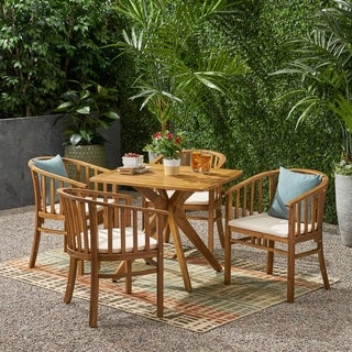 Alondra Outdoor 4 Seater Acacia Wood Square Dining Set by Christopher Knight Home