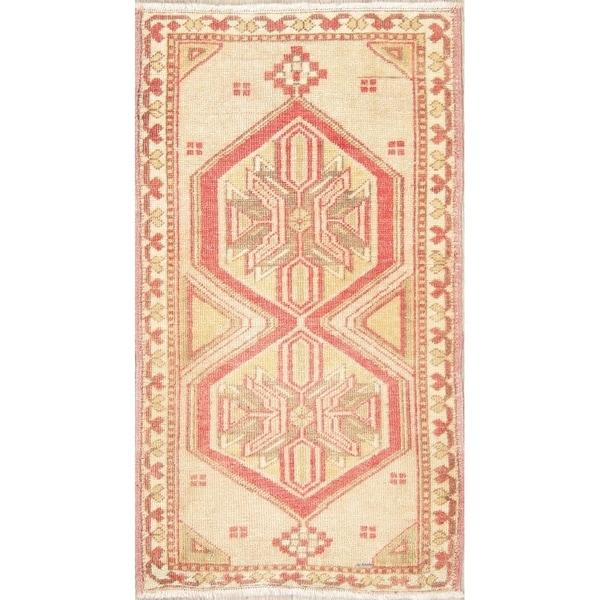 "Oushak Oriental Tribal Hand-Knotted Wool Vintage Turkish Area Rug - 3'3"" x 1'10"""