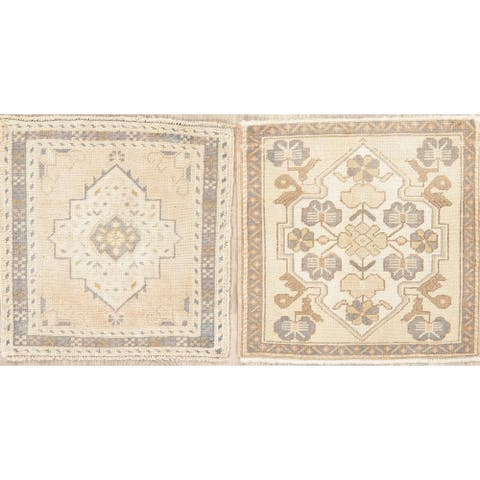 """Set of 2 Oushak Oriental Traditional Vintage Hand-Knotted Wool Rug - 1'10"""" x 1'9"""" Square"""