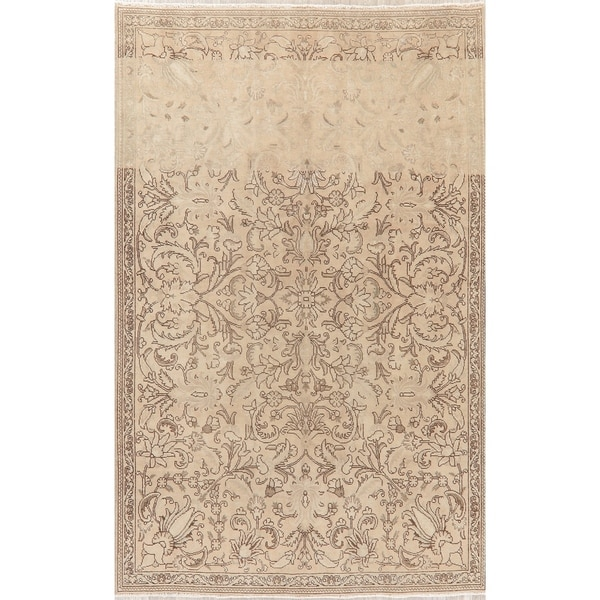 """Faded Distressed Traditional Oriental Hand-Knotted Persian Area Rug - 9'3"""" x 6'4"""""""