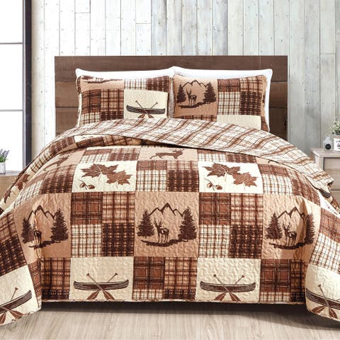 Redwood Collection 3 Piece Lodge Quilt Set with Shams