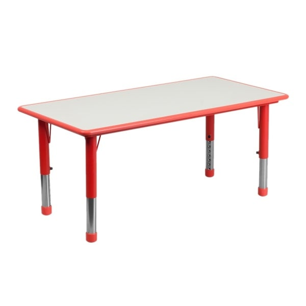 """Offex 23.625""""W x 47.25""""L Height Adjustable Rectangular Red Plastic Activity Table with Grey Top"""
