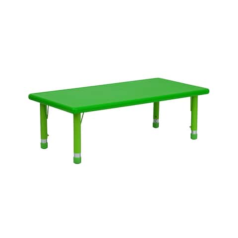 """Offex 24""""W x 48""""L Height Adjustable Rectangular Green Plastic Activity Table"""