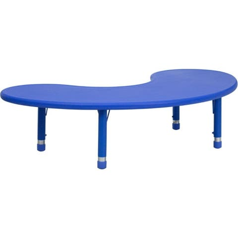 "Offex 35""W x 65""L Height Adjustable Half-Moon Blue Plastic Activity Table - N/A"