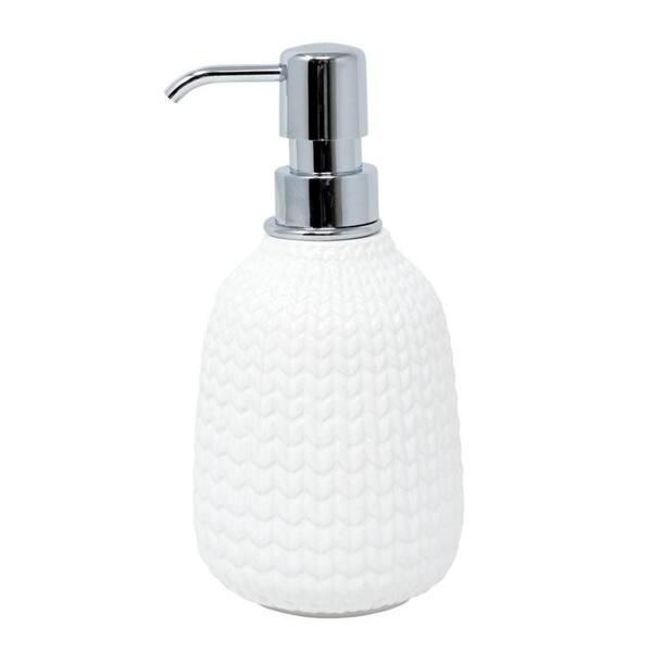 White Ceramic Bathroom Wastebasket Text