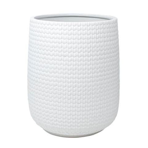Croscill Juno White Ceramic Knit Waste Basket