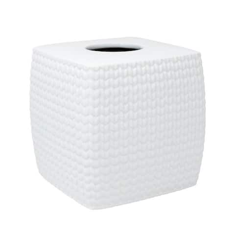 Croscill Juno White Ceramic Knit Tissue Cover