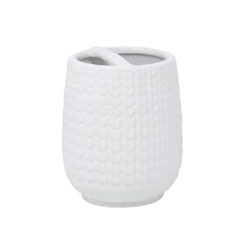 Croscill Juno White Ceramic Knit Toothbrush Holder