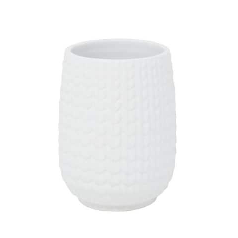 Croscill Juno White Ceramic Knit Tumbler