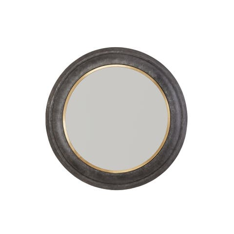 Galvanized Black/True Brass Metal Frame Mirror - Galvanized Black & True Brass