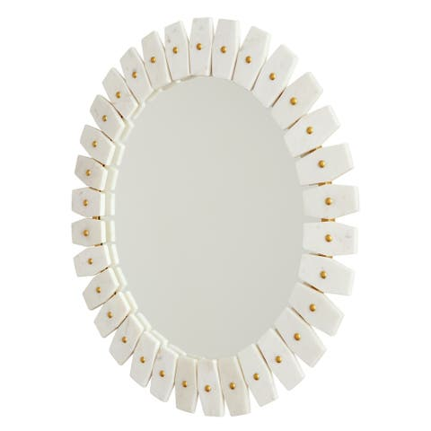 White Marble/Brushed Brass Marble Frame Mirror - White Marble with Brushed Brass Metal