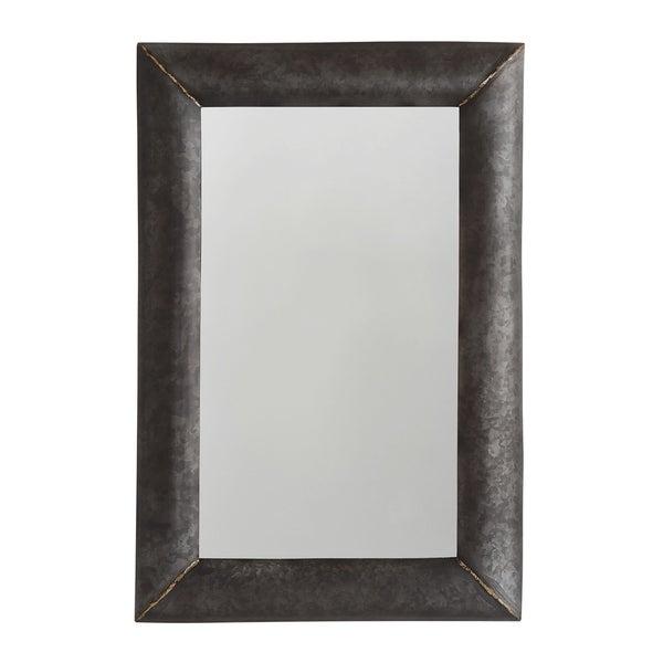 Galvanized Black/True Brass Metal Frame Mirror - Galvanized Black & True Brass