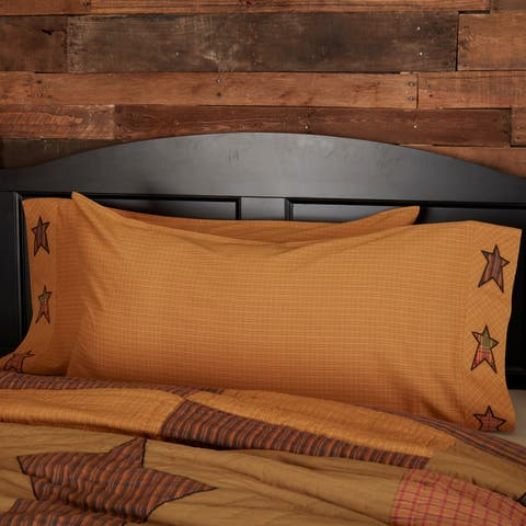 Tan Primitive Bedding VHC Stratton Applique Star Pillow Case Set of 2 Cotton Star Appliqued