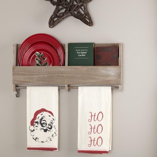 Chenille Christmas Ho Ho Ho Tea Towel Set - Tea Towel 28x19