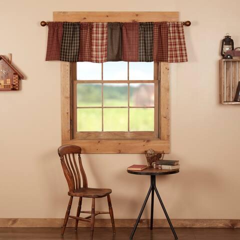 Red Rustic Kitchen Curtains VHC Beckham Patchwork Valance Rod Pocket Cotton