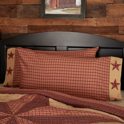 Red Country Bedding VHC Landon Pillow Case Set of 2 Cotton Star Appliqued