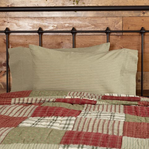 Tan Farmhouse Bedding VHC Prairie Winds Ticking Stripe Pillow Case Set of 2 Cotton Striped
