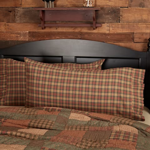 Tan Primitive Bedding VHC Crosswoods Pillow Case Set of 2 Cotton Plaid