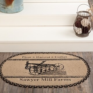"Tan Farmhouse Holiday Decor VHC Sawyer Mill Plow Rug Jute Graphic-Print Stenciled Textured - 1'8"" x 2'6"""
