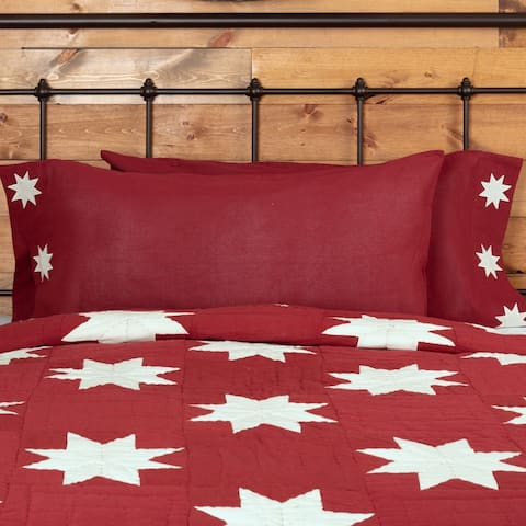 Red Farmhouse Bedding VHC Kent Pillow Case Set of 2 Cotton Star Appliqued Chambray