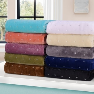 Miranda Haus Windom Metallic Polka Dot Print Fleece Blanket