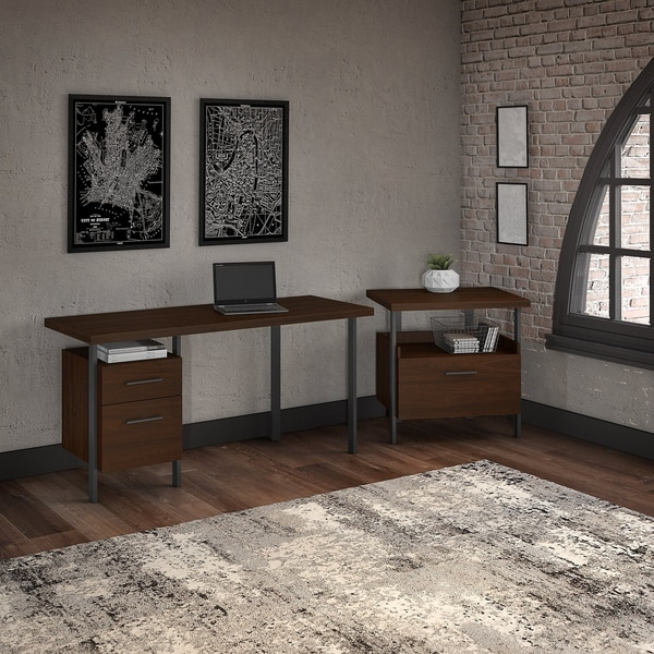 Bush Furniture Architect 60W Writing Desk with Lateral File Cabinet