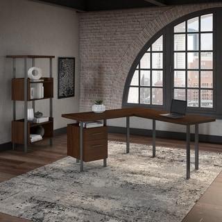 Copper Grove Adelphi L-shaped Desk with 4-shelf Bookcase